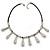 Silver Tone Teardrop Bead, Black Rubber Cord Necklace - 47cm L/ 4cm Ext - view 5