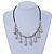 Silver Tone Teardrop Bead, Black Rubber Cord Necklace - 47cm L/ 4cm Ext - view 2