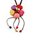 Multicoloured Ceramic Flower Pendant With Long Brown Cotton Cord - 60cm L - view 3