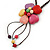 Multicoloured Ceramic Flower Pendant With Long Brown Cotton Cord - 60cm L - view 8