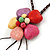 Multicoloured Ceramic Flower Pendant With Long Brown Cotton Cord - 60cm L - view 5