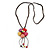 Multicoloured Ceramic Flower Pendant With Long Brown Cotton Cord - 60cm L - view 6