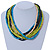 Multi-Strand Lime Green/ Black/ Teal/ Beige Wood Bead Adjustable Cord Necklace - 46cm to 58cm L - view 3
