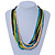 Multi-Strand Lime Green/ Black/ Teal/ Beige Wood Bead Adjustable Cord Necklace - 46cm to 58cm L - view 4