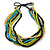 Multi-Strand Lime Green/ Black/ Teal/ Beige Wood Bead Adjustable Cord Necklace - 46cm to 58cm L - view 5