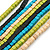 Multi-Strand Lime Green/ Black/ Teal/ Beige Wood Bead Adjustable Cord Necklace - 46cm to 58cm L - view 2