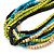Multi-Strand Lime Green/ Black/ Teal/ Beige Wood Bead Adjustable Cord Necklace - 46cm to 58cm L - view 7