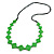 Long Bright Green Bone Square Bead Black Cotton Cord Necklace - 82cm L - view 3