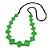 Long Bright Green Bone Square Bead Black Cotton Cord Necklace - 82cm L