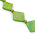 Long Bright Green Bone Square Bead Black Cotton Cord Necklace - 82cm L - view 7