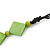 Long Bright Green Bone Square Bead Black Cotton Cord Necklace - 82cm L - view 8