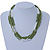 Multistrand White/ Green Glass Bead Necklace - 49cm L - view 4