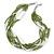 Multistrand White/ Green Glass Bead Necklace - 49cm L