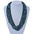 Chunky Light Blue/ Black Glass Bead Bib Necklace - 62cm L - view 2