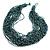 Chunky Light Blue/ Black Glass Bead Bib Necklace - 62cm L