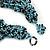 Chunky Light Blue/ Black Glass Bead Bib Necklace - 62cm L - view 5