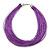 Multistrand Purple Silk Cord Necklace In Silver Tone - 40cm L