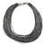 Multistrand Metallic Silver/ Black Silk Cord Necklace In Silver Tone - 40cm L