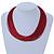 Multistrand Dark Red Silk Cord Necklace In Silver Tone - 40cm L - view 2