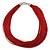 Multistrand Dark Red Silk Cord Necklace In Silver Tone - 40cm L