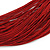 Multistrand Dark Red Silk Cord Necklace In Silver Tone - 40cm L - view 3