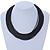 Multistrand Black Silk Cord Necklace In Silver Tone - 40cm L - view 2