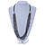 Multistrand Grey/ Metallic Silver Glass Bead, Semiprecious Stone Black Suede Cord Necklace - 74cm L - view 2