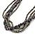 Multistrand Grey/ Metallic Silver Glass Bead, Semiprecious Stone Black Suede Cord Necklace - 74cm L - view 4