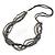 Multistrand Grey/ Metallic Silver Glass Bead, Semiprecious Stone Black Suede Cord Necklace - 74cm L - view 6