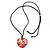 Red Resin Heart Pendant With Black Cotton Cord - 40cm/ 72cm Adjustable