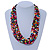 Multistrand Multicoloured Wood Bead, Black Adjustable Cord Necklace - 46cm to 58cm L - view 2