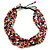 Multistrand Multicoloured Wood Bead, Black Adjustable Cord Necklace - 46cm to 58cm L - view 6