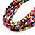 Multistrand Multicoloured Wood Bead, Black Adjustable Cord Necklace - 46cm to 58cm L - view 7