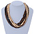 Multi-Strand Brown/ Black/ Cream Wood Bead Adjustable Cord Necklace - 46cm to 58cm - view 3
