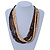Multi-Strand Brown/ Black/ Cream Wood Bead Adjustable Cord Necklace - 46cm to 58cm - view 4