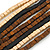 Multi-Strand Brown/ Black/ Cream Wood Bead Adjustable Cord Necklace - 46cm to 58cm - view 5