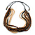 Multi-Strand Brown/ Black/ Cream Wood Bead Adjustable Cord Necklace - 46cm to 58cm