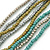 Silver/ Grey/ Olive/ Green Multistrand Glass Bead Long Necklace - 76cm L - view 3
