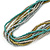 Silver/ Grey/ Olive/ Green Multistrand Glass Bead Long Necklace - 76cm L - view 4