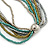Silver/ Grey/ Olive/ Green Multistrand Glass Bead Long Necklace - 76cm L - view 5