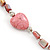 Dusty Pink Shell Nugget With Stone Hearts Necklace - 76cm L - view 2