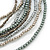 Silver/ Grey/ Metallic Multistrand Glass Bead Long Necklace - 74cm L - view 2