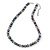 9mm Potato Shaped Peacock Coloured Freshwater Pearl With Crystal Rings Necklace In Silver Tone - 43cm L/ 6cm Ext