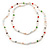 Long Rope White Baroque Shape Freshwater Pearl, Multicoloured Glass Bead Necklace - 116cm L - view 9