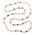Long Rope White Baroque Shape Freshwater Pearl, Multicoloured Glass Bead Necklace - 116cm L