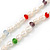 Long Rope White Baroque Shape Freshwater Pearl, Multicoloured Glass Bead Necklace - 116cm L - view 4