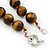 12mm Tiger Eye Round Semi-Precious Stone Necklace With Spring Ring Clasp - 44cm L - view 4