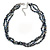 7mm Black/ Grey Rice Freshwater Pearl, 3 Strand Twisted Necklace - 41cm L/ 5cm Ext - view 5