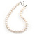 12mm Light Cream Ringed Freshwater Pearl Necklace In Silver Tone - 41cm L/ 6cm Ext