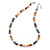 8mm Multicoloured Oval Freshwater Pearl Necklace In Silver Tone - 39cm L/ 4cm Ext